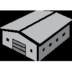 Data Center building icon in grey
