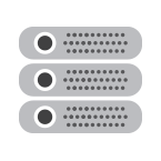 Data center server icon in black and grey