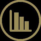 Gold bar graph icon decreasing