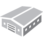 Data Center building icon in grey