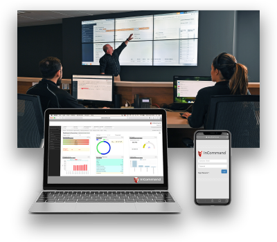 Screenshots of the InCommand portal on a laptop and mobile device with people in NOC