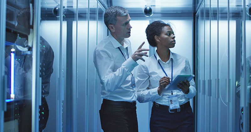 IT workers inside data center