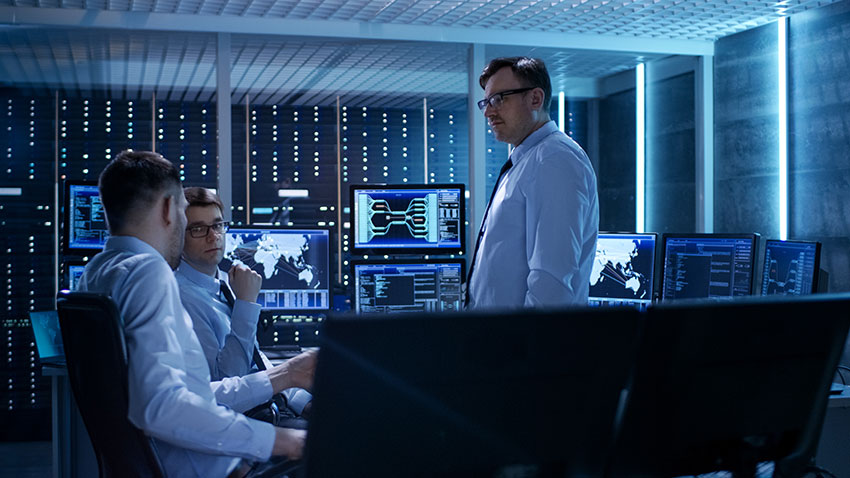 IT workers inside data center NOC using InCommand for digital transformation
